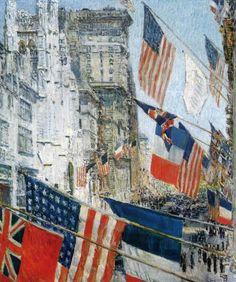 Dia dos Aliados, maio de 1917 (1917) - Childe Hassam - National Gallery of Art, Washington  Hassam pintou uma série de pinturas na segunda década do século XX que documentam seus sentimentos patrióticos durante a Primeira Guerra Mundial.  As imagens, como o Dia dos Aliados, em maio de 1917, transformam os edifícios de Nova York em um mar de cores vibrantes.