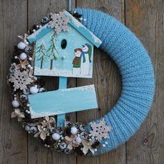 Hóesésben - téli ajtódísz, Karácsonyi, adventi apróságok, Dekoráció, Otthon, lakberendezés, Meska
