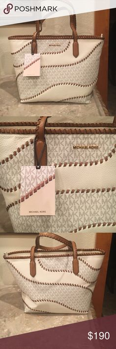🌺Miichael Kors  Noveau  Haley  East west Tote🌺 🌺Beautiful whip Stitching  brings this  Tote to a new element in fashion bags😁From  East to west this Lg Signature. Tote is Good from the work place to a Girls weekend trip.    2 deep inside pockets  , Cellphone. Pocket ‼️ 18 1/2 W 11 1/4 H x 6 3/4  deep. ‼️Price Firm /‼️ Michael Kors Bags Totes