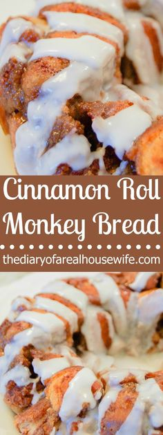 Cinnamon Roll Monkey Bread There is something almost sinful about monkey bread! It's so yummy and you just can't stop eating it! Well it got even better with this Cinnamon Roll Monkey Bread covered in icing! Ready to try this delicious easy recipe! Bread Machine Cinnamon Rolls, Cinnamon Roll Monkey Bread, Bread Machine Recipes, Cinnamon Rolls With Biscuits, Canned Biscuits, Breakfast Crockpot Recipes, Easy Brunch Recipes, Easy Bread Recipes, Cinnamon Recipes
