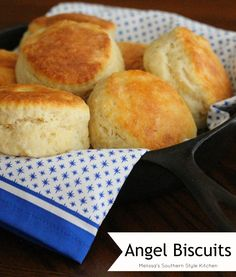 """Angel biscuits are a cross between a yeast roll and a buttermilk biscuit. Dubbed """"Angel Biscuits"""" due to the fact that the recipe uses 3 leavening agents. Yeast, baking powder and baking soda are used in the dough resulting in a biscuit that's as airy and light as """"angels wings."""""""
