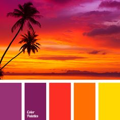Color combination, color pallets, color palettes, use on flamingos Sunset Color Palette, Sunset Colors, Colour Pallette, Colour Schemes, Color Patterns, Color Combos, Beach Color Palettes, Orange Color Palettes, Gold Palette