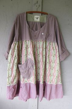 X Large 1 X upcycled clothing dress / Romantic peasant dress / Eco Boho oversize dress / French shabby farm girl dress by LillieNoraDryGoods Funky Dresses, Girls Dresses, Baby Dresses, Fru Fru, Oversized Dress, Altered Couture, Refashioning, Shirt Refashion, Cycling Outfit