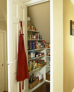 The pantry is a magnet for clutter so try to do this quick tidy-up regularly so the job doesn't get too big. Work on one shelf or section at a time, clear off all food items checking the expiry dates as you go. Wipe down the shelves with soapy water and dry before replacing food. As you go, consider any useful item you could use to organise your space so you can pick them up next time you are out. Labelled jars, baskets, trays and hooks can help to keep clutter at bay.