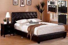 Cal. King Bed Leatherette platform bed.. European slat kit.. Solid woods and veneer.. Expresso Finish..