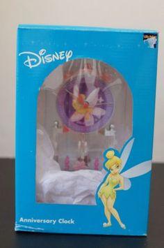 Tinker-Bell-Glass-Dome-Sculpted-Resin-Anniversary-Clock-Disney-Figurine