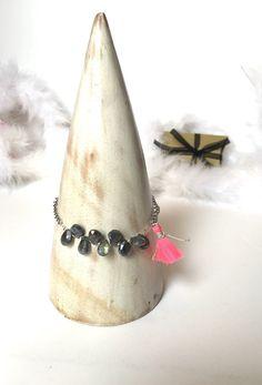 Bracelet perles magic cristal en goutte couleur gris par Ocelyane