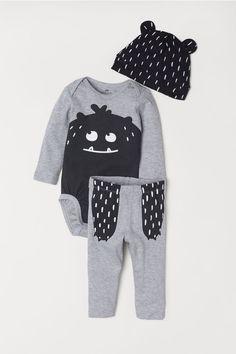 dc05b4023f5 3-piece Jersey Set - Gray melange black patterned - Kids