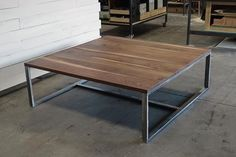 """New collar Goods. Newly built walnut/brushed steel coffee table for a new client. This is by far the largest coffee table we've made, it measures 60""""x60"""" and used 8 walnut boards to span the mass. #woodworking #usamade #denverfurniture #denverdesign #denver #furnituredesign"""