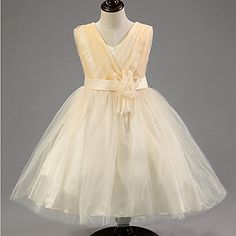 Flower Girl Dress Knee-length Cotton/Tulle/Sequined/Polyester A-line Sleeveless Dress – USD $ 29.99