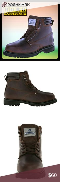 """SKECHERS For Work Men's Foreman Steel Toe Boots 🔨SKECHERS for Work Men's Foreman Concore Boots   ✔Condition: Brand New w/ box, manufacturer packaged and sealed.   ✔Material: Genuine Leather Upper, Rubber Sole   ✔Features: slip resistant non-marking outsole, steel toe, padded collar, removable memory foam insole   ✔Size: Men's US 7.5M, Women's US 9M - YES, these boots can be considered unisex as I own a pair and absolutely love them!  ✔Color: Dark Brown   ✔Shaft measures approximately 6.5""""…"""