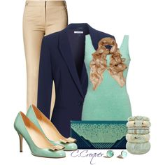 Navy & Mint by ccroquer on Polyvore featuring BKE core, Jaeger, MANGO, Kate Spade and Alexander McQueen