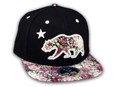 ★ This is a High Quality Floral California Republic Bear on Black Baseball Snapback Cap! It's an adjustable Snapback with Flat Brim Visor, from Top Level. It has California Republic Bear in 3D Embroidered Stitching on Brown Floral Pattern with Star! Underside of bill is the same Floral Pattern. Back has a California Bear and Star in Raised Gray Stitching! [$12.97]