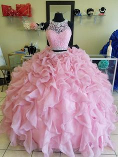 Two Piece Pink Quinceanera Dresses 2019 Modest Beaded Crystals Masquerade Ball Gown Evening D. : Two Piece Pink Quinceanera Dresses 2019 Modest Beaded Crystals Masquerade Ball Gown Evening Dress Sweet 16 Girls Birthday Party Plus Size, Dama Dresses, Cute Prom Dresses, Quince Dresses, Sweet 16 Dresses, Sweet Dress, Pretty Dresses, Beautiful Dresses, Pink Dresses, Dress Prom
