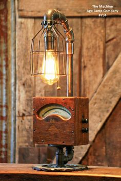 Steampunk, Industrial, Antique Wood Electrical Meter Lamp #734 - SOLD