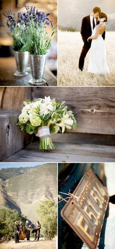 I would love to replicate exactly the lavendar in the pewter vases, and I love the bouquet. Want to wrap them in twine, sans lace.