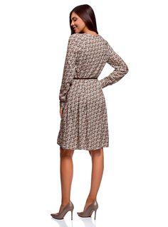 oodji Collection Women's Belted Viscose Dress: Amazon.co.uk: Clothing Viscose Dress, Belts For Women, High Neck Dress, Dresses For Work, Amazon, Clothing, Collection, Fashion, Turtleneck Dress