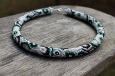 The 70-year trend beaded crochet rope necklace, handmade jewelry, geometric pattern, silver, white, green, gray, black. Beadwork, gift