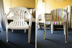 Monocover is a DIY cover for your plain plastic monobloc chair created by Tom de Vrieze. Personalize it with whatever fabric you'd like and even use it indoors. Outdoor Plastic Chairs, Plastic Patio Furniture, Patio Furniture Covers, Furniture Slipcovers, Slipcovers For Chairs, Furniture Design, Outdoor Planters, Concrete Planters, Chair Design
