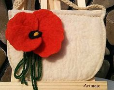 Red Poppy Felt Bag