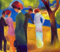 """alongtimealone: """" August Macke - Woman in a Green Coat, 1913 at Museum Ludwig, Cologne Germany (by """" August Macke, Famous Artists Paintings, Paintings I Love, Kandinsky, Museum Ludwig, Painting People, Green Coat, Art Archive, Life Drawing"""