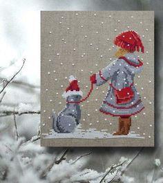 grille point de croix fin d'année, Noël, hiver, neige, bonne année, halloween: