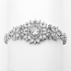 Dramatic CZ Bridal Bracelet with Cushion Cut Center