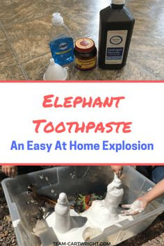 Looking for an easy sensory science project to really wow your kids? Try elephant toothpaste. Easy, fun, and safe to play with. This fast eruption will impress your children and grab their attention. Plus they will love digging their hands into the foam! STEM with kids   Preschool Learning Activity   Easy Science Projects #STEM #scienceproject #science #easy #safe #preschool #toddler #learningactivity #sensoryactivity Team-Cartwright.com