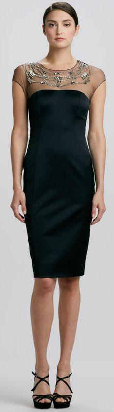 Elegant Scoop Neck Cap Sleeves Sheath Dress