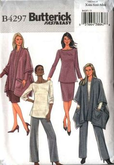 Butterick Sewing Pattern 4297 Misses Size 4-14 Easy Wardrobe Poncho Jacket Top Skirt Pants  $12.99