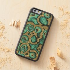 Funky Teal Turquoise Faux Gold Swirls Pattern Carved® Maple iPhone 6 Bumper
