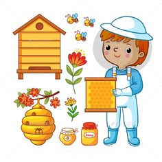 Buy Vector Set with Bee Apiary and Boy by svaga on GraphicRiver. Beekeeping honey vector set with beekeeper. Vector set with bee apiary and boy. Bug Crafts, Diy And Crafts, Bee Movie, Bee Embroidery, Cute Coloring Pages, Flower Food, Kids Artwork, Infant Activities, Bee Keeping