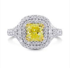 Cushion Cut Diamond Ring, Canary Yellow Diamond Ring, Raiman Rocks, Engagement Ring, colored diamond jewelry,