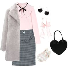 Fluffy winter bunny by sweetpasteldream on Polyvore featuring Mode, Whistles, Topshop, kawaii, jfashion, Larme and larmekei