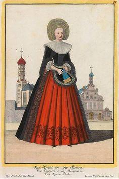 """Augsburger Trachten vor historischen Wahrzeichen der Stadt: """"Eine Braut von der Gemein"""". Original- Kupferstich bei Jeremias Wolff (1663 - 1724)"""