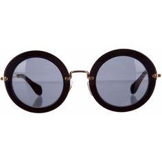 Miu Miu Sunglasses ($175) ❤ liked on Polyvore featuring accessories, eyewear, sunglasses, glasses, occhiali, round frame sunglasses, round sunglasses, miu miu, miu miu glasses and round frame glasses