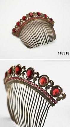 Tiara, ca. 1820-1850, brass, glass
