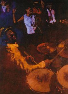 Crowd of people dancing, drummer in foreground by Bernard (Bernie) Fuchs
