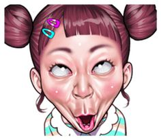 funny face Collection by niziuta sticker Funny Face Drawings, Cute Cartoon Drawings, Cute Cartoon Pictures, Cartoon Girl Drawing, Pictures To Draw, Funny Faces Pictures, Funny Angry Face, Make Funny Faces, Face Stickers