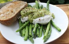 Steamed Asparagus & Poached Eggs topped with Avocado Hollandaise Sauce | The Simple Treat