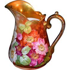 Antique 19th Century Limoges France Tea Set Hand Painted Floral Gold ...