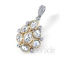 Parade pendant style P3141A-WY. Dazzling cluster of diamonds and white sapphires.