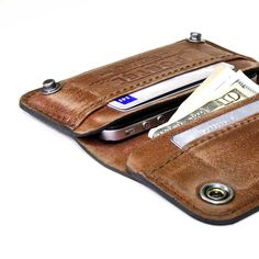 iPhone / iPod Touch - - RETROMODERN aged leather wallet - - LIGHT BROWN. $149.00, via Etsy.