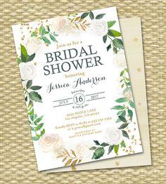 Bridal Shower Invitation Printable Bridal Shower Invite White Roses Gold Glitter Green Botanical Greenery ANY EVENT