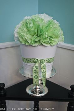 regular frills | st. patrick's day paper flower centerpieces