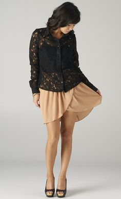 Studded Chiffon Wrap Skirt in Camel