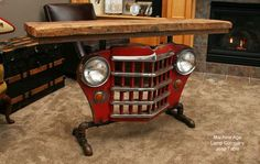 Industrial Antique Jeep CJ Military Willys Grill Table or lamp Stand