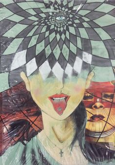 7th - first sample of poster. On green peace of paper I draw girl. She's taking stamp infused with the power of LSD. On the top, eye inspired Alex Grey graphics. On left we see nightmare of Zdzisław Beksniński bad trip on the right Salvador Dali surrealistic vision. (Ink, paints, collage and cut-out)