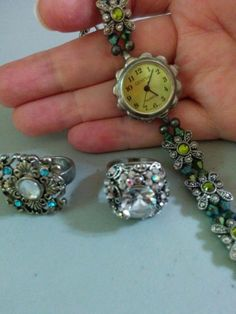 SALE! ALWAYS FREE SHIPPING!  Two Rings + One Non Working Geneva Watch Marcasites and Rhinestones  | eBay