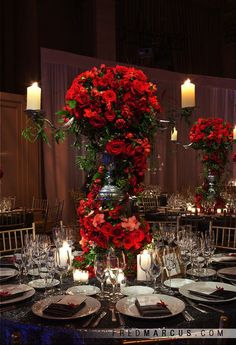 ideas for wedding flowers red centerpieces orchids Reception Decorations, Event Decor, Table Decorations, Red Wedding Receptions, Red Wedding Decorations, Red Rose Wedding, Floral Wedding, Wedding Black, Red Centerpieces